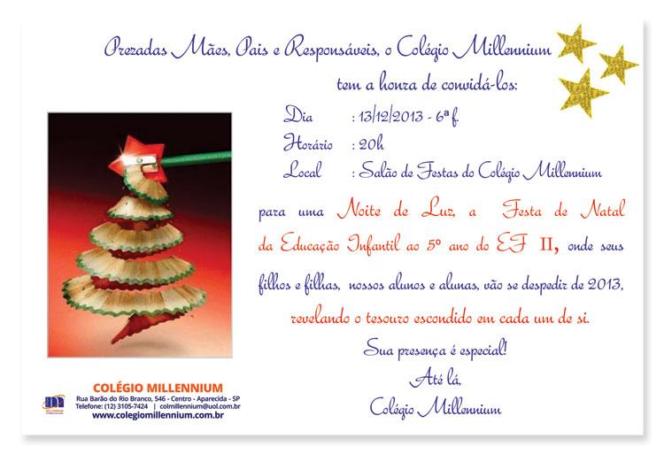 Noite de Luz, a Festa de Natal da Educação Infantil ao 5º ano do EF II do Colégio Millennium